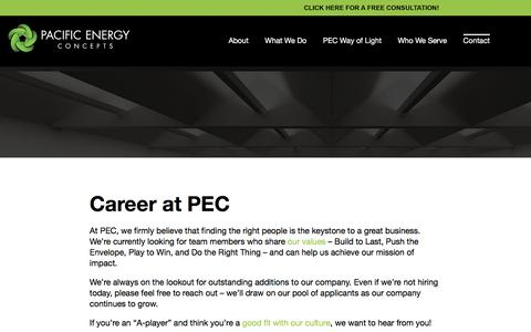 Screenshot of Jobs Page pacificenergyconcepts.com - Lighting technicians installers   Electrician careers   Jobs - captured April 1, 2018
