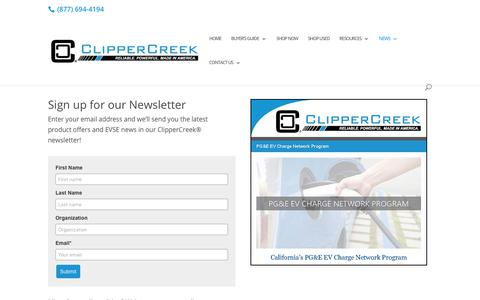 Screenshot of Signup Page clippercreek.com - Stay Informed with the ClipperCreek Newsletter - captured Sept. 28, 2018