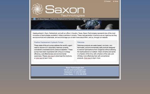 Screenshot of Home Page saxon-technologies.com - Home - captured Sept. 30, 2014