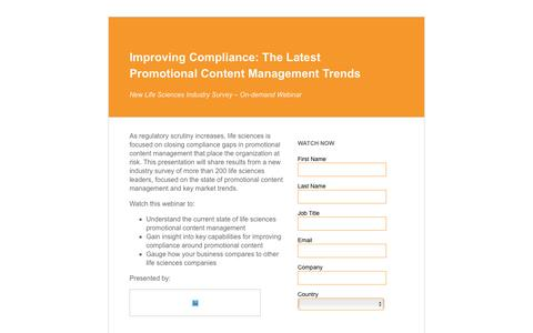Screenshot of Landing Page veeva.com - Improving Compliance: The Latest Promotional Content Management Trends | Veeva Systems - captured Feb. 24, 2016