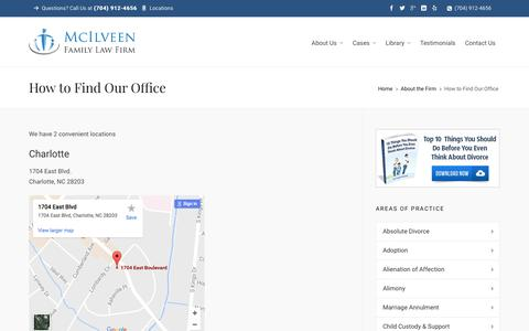 Find Our Office | Charlotte NC Divorce Lawyer & Family Law Attorneys - McIlveen Family Law