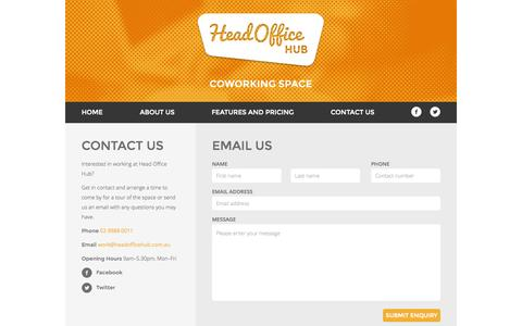Screenshot of Contact Page headofficehub.com.au - Head Office Hub - Coworking Space on Sydney's Upper North Shore - captured Sept. 29, 2014