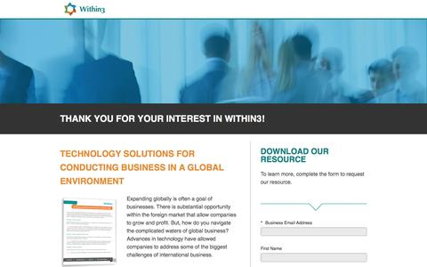 Screenshot of Landing Page within3.com - Technology Solutions for Conducting Business in a Global Environment - captured Jan. 3, 2017