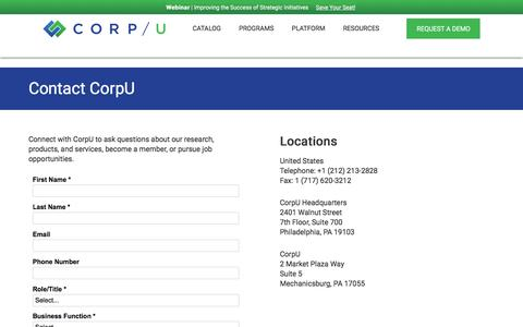Screenshot of Contact Page corpu.com - Contact Us | CorpU - captured Nov. 9, 2019