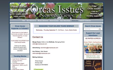 Screenshot of Contact Page orcasissues.com - Contact Us - Orcas Issues: News & Views - captured Sept. 19, 2014
