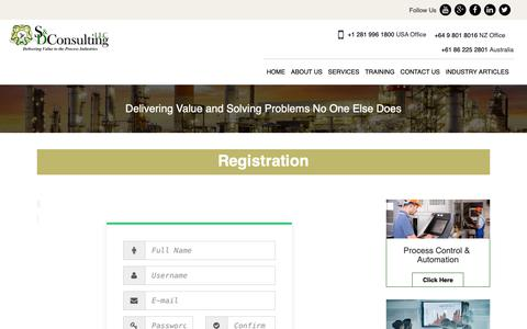Screenshot of Signup Page sdconsulting.com - Registration - S&D Consulting - captured Oct. 1, 2018