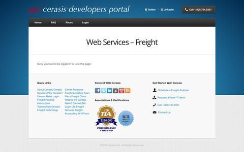 Screenshot of Developers Page cerasis.com - Web Services – Freight | Cerasis Developers Portal - captured Nov. 3, 2017