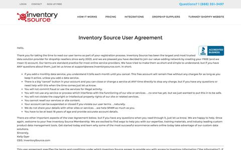 Screenshot of Terms Page inventorysource.com - Terms of Service - Inventory Source - captured Jan. 14, 2016