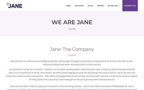 Screenshot of About Page jane.hr - We Are Jane | Jane.hr - Hiring Specialist - Hiring Process - Hiring Assistant - No Recruiters - captured Feb. 22, 2018