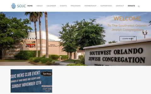 Screenshot of Home Page sojc.org - Southwest Orlando Jewish Congregation   Southwest Orlando Jewish Congregation - captured Nov. 8, 2017