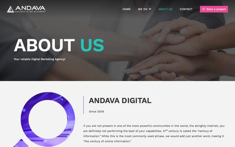 Screenshot of About Page andava.com - About Us - Andava Digital Marketing Agency - captured April 30, 2019