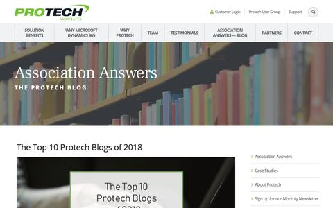 Screenshot of Blog protechassociates.com - Association Answers — The Protech Blog - captured Dec. 30, 2018