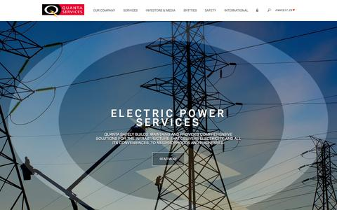 Screenshot of Home Page quantaservices.com - Quanta Services ǀ Home ǀ Leader in Electric Power, Oil & Gas Industries - captured Feb. 12, 2016