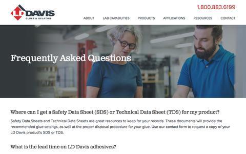Screenshot of FAQ Page lddavis.com - Glue Manufacturer, Book Binding Glue & Other Glue FAQs | LD Davis - captured Sept. 25, 2018