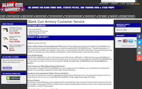 Screenshot of Privacy Page Support Page Terms Page blankgunarmory.com - Customer Service - captured Jan. 31, 2018