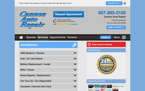 Screenshot of Services Page cannonautorepair.com - Auto Repairs Cannon Falls, MN | Complete Automotive Car Services - captured July 15, 2018