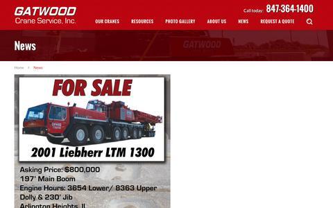 Screenshot of Press Page gatwoodcrane.com - News - Gatwood Crane Service, Inc. - captured Oct. 26, 2016