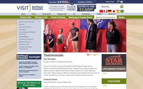 Screenshot of Testimonials Page visitbuffaloniagara.com - Visit Buffalo NY | Niagara Falls | Buffalo Hotels & Restaurants, Hotels, Restaurants, Things to Do - captured Sept. 22, 2014