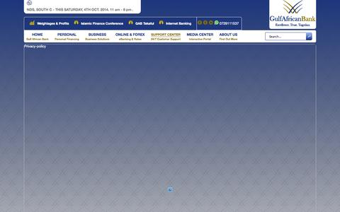 Screenshot of Privacy Page gulfafricanbank.com - Privacy Policy - captured Oct. 3, 2014
