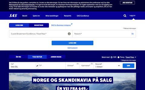 Screenshot of Login Page sas.no - Billige flybilletter og flyreiser – søg og bestill fly   SAS - captured Sept. 22, 2018