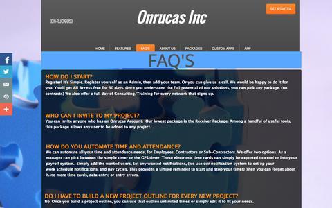 Screenshot of FAQ Page onrucas.com - FAQ's - captured Oct. 26, 2014
