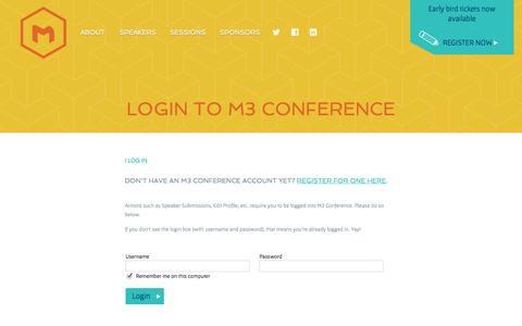 Screenshot of Login Page m3conf.com - Login - captured Oct. 3, 2014
