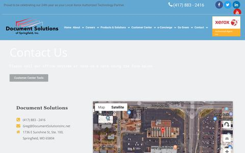 Screenshot of Contact Page documentsolutionsinc.net - Contact - Document Solutions of Springfield - captured Oct. 9, 2018