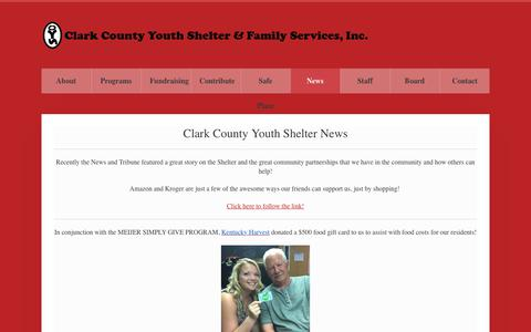 Screenshot of Press Page ccysfs.org - Clark County Youth Shelter and Family Service News - captured Sept. 28, 2018