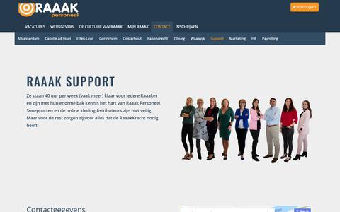 Screenshot of Support Page raaakpersoneel.nl - Contact Support - Raaak Personeel - captured Oct. 20, 2018