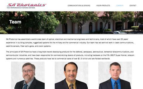 Screenshot of Team Page saphotonics.com - Team – SA Photonics - captured July 12, 2019