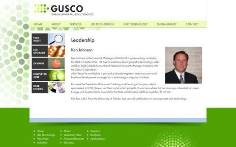 Screenshot of Team Page gogusco.com - Leadership | Gusco - captured Oct. 1, 2014