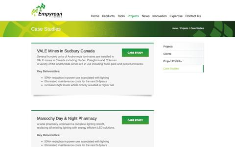 Screenshot of Case Studies Page empyreanlighting.com - Case Studies - Empyrean Lighting - captured Sept. 30, 2014