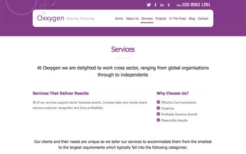 Screenshot of Services Page oxxygen.co.uk - Services | Oxxygen - captured Oct. 6, 2014