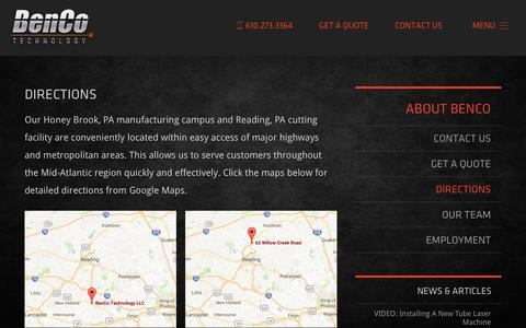 Screenshot of Maps & Directions Page bencotechnology.com - Directions - Laser Cutting in PA & Metal Fabrication in PA - BenCo Technology - captured Oct. 5, 2018
