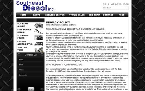 Screenshot of Privacy Page sediesel.com - Privacy Policy - Southeast Diesel Inc.Southeast Diesel Inc. - captured Oct. 23, 2017