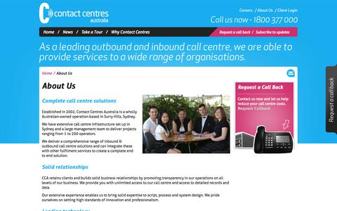 Screenshot of About Page contactcentres.com.au - About Us | Contact Centres Australia - captured Oct. 1, 2014