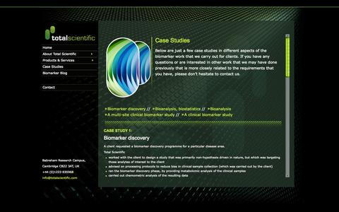 Screenshot of Case Studies Page totalscientific.com - total scientific ltd - captured Oct. 7, 2014