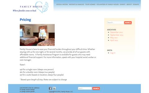 Screenshot of Pricing Page familyhouse.org - Pricing | Family House - captured Sept. 30, 2014