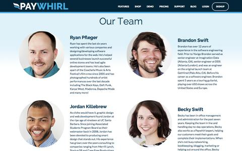 Screenshot of Team Page paywhirl.com - Recurring Payments and Subscriptions : Team - Paywhirl - captured Oct. 30, 2014