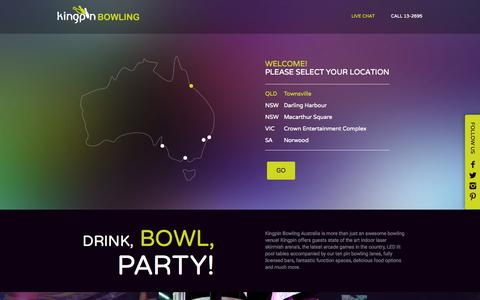 Screenshot of Home Page kingpinbowling.com.au - Kingpin - Drink, Bowl, Party! - captured Jan. 25, 2015