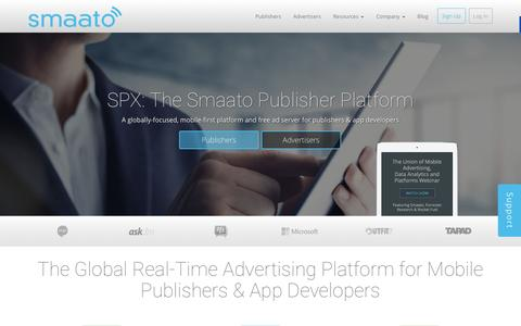 Screenshot of Home Page smaato.com - Mobile Advertising Platform for App Monetization - Smaato - captured Dec. 4, 2015