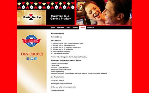 Screenshot of Jobs Page morrisgaming.com - Illinois Video Gaming Terminals - captured Oct. 1, 2014