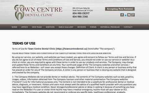 Screenshot of Terms Page towncentredental.ca - - Terms of Use  |  Town Centre Dental Clinic - captured Jan. 19, 2020