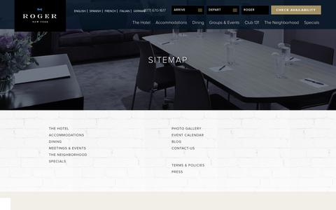 Screenshot of Site Map Page therogernewyork.com - The Roger Hotel | Sitemap | Luxury Hotel in Midtown Manhattan - captured Sept. 30, 2018
