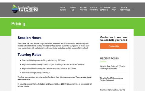 Screenshot of Pricing Page ectutoring.com - Pricing - Educational Connections - captured Sept. 27, 2018