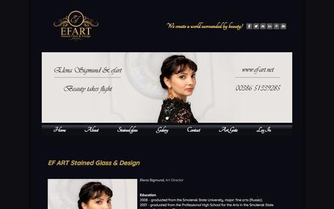 Screenshot of Team Page ef-art.net - Artist Elena Sigmund  - EF ART Stained glass & Design - captured Sept. 25, 2018
