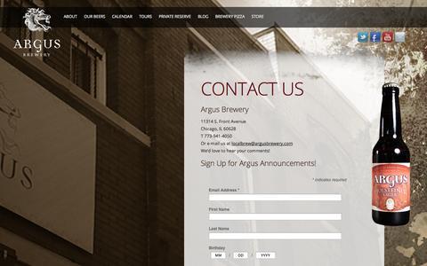 Screenshot of Contact Page argusbrewery.com - Contact Argus Brewery - Chicago Craft Brewery - Plan a Brewery Tour - captured Sept. 30, 2014