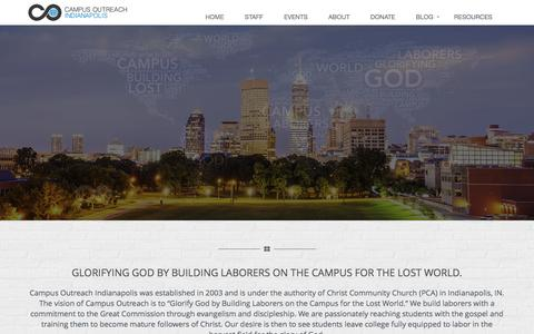 Screenshot of Home Page coindy.org - Campus Outreach Indy - captured March 3, 2016