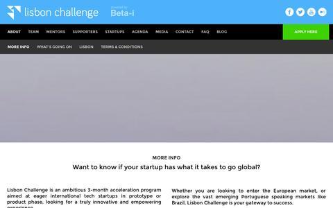 Screenshot of About Page lisbon-challenge.com - The Lisbon Challenge | More info - captured Nov. 4, 2014