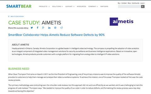 Screenshot of Case Studies Page smartbear.com - Case Studies: Aimetis  | SmartBear - captured May 19, 2017